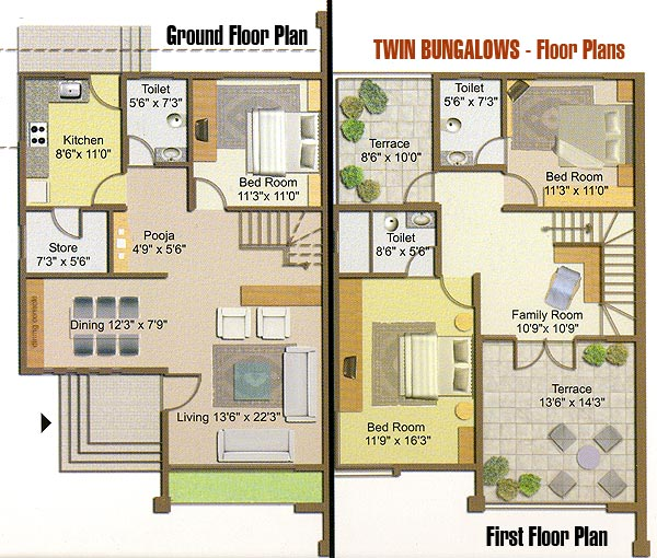 Twin bungalow floor plan for Twin bungalow plans